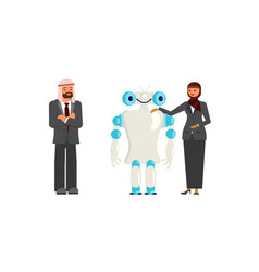 arabic business people with robor vector image