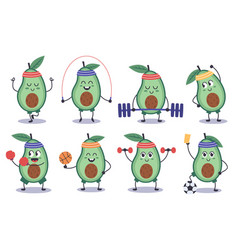 avocado fitness funny doodle character do vector image