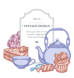 Badge design with pastel candies cupcake teapots vector