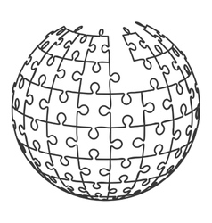 Ball in puzzle pieces icon vector