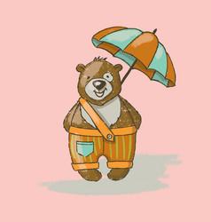 bear umbrella cartoon animal hand drawn ill vector image