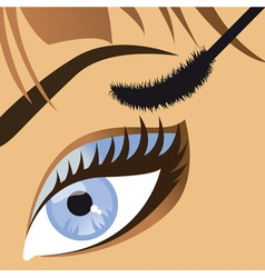 beauty close up of a beautiful female eye mascara vector image