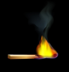 Burning-wooden-match-on-a-black-background vector