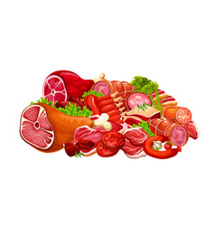 Butcher shop beef and pork meat butchery products vector
