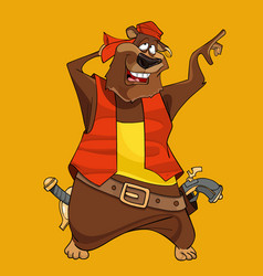 cartoon funny bear in the clothes of a pirate vector image