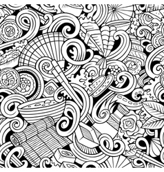 Cartoon hand-drawn doodles of japanese cuisine vector image