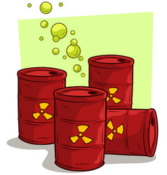 cartoon red metal barrels with radiation sign vector image