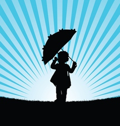 child with umbrella in nature vector image