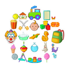 children activity icons set cartoon style vector image