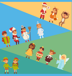christmas carnival costume kids vector image