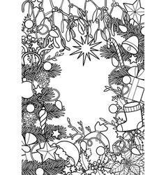 christmas outline frame vector image