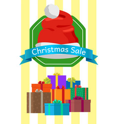 Christmas sale poster with presents in color boxes vector