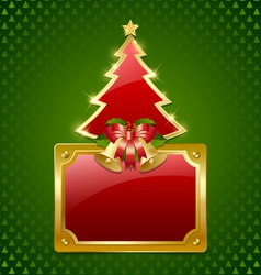 Christmas tree with bells and plaque vector image