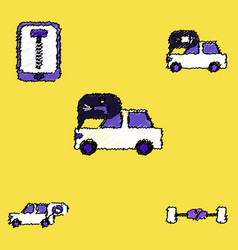 Collection of icons and vehicle parts in hatching vector