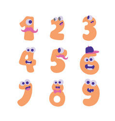 colorful cute doodle monsters numbers set vector image