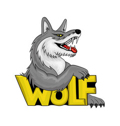 colorful wolf sign vector image