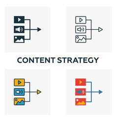 content strategy icon set four elements in vector image