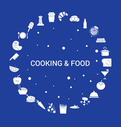 Cooking and food icon set infographic template vector