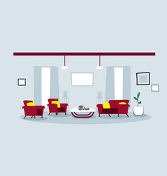 creative lounge area with couch and armchair empty vector image