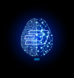Crypto currency dash on brain background vector