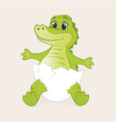 Cute little crocodile hatched from egg vector