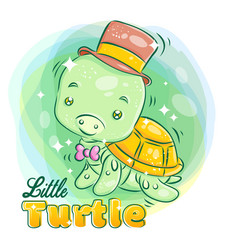 Cute little turtle wear a hat and ribbon with vector