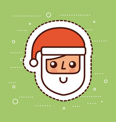 cute santa claus face smile cartoon vector image