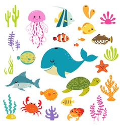 Cute underwater world vector