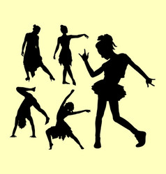 Dancing pose man and woman silhouette vector