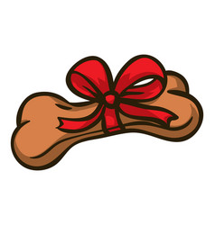 Dog bone with red bow vector
