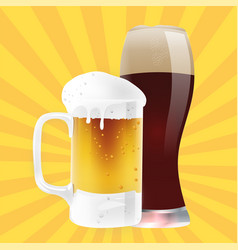 Drink mug of light beer and dark beer image vector