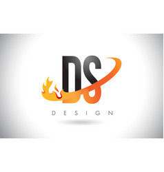 Ds d s letter logo with fire flames design and vector