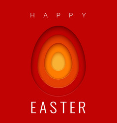 easter card with paper cut egg shape frames happy vector image