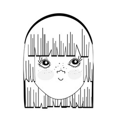 Figure pretty girl face with hairstyle and vector