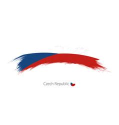 Flag czech republic in rounded grunge brush vector