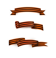 flat george ribbon victory day icon set vector image
