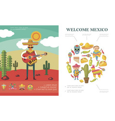 flat welcome to mexico concept vector image
