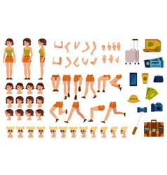 flat woman tourist travel bag creation set vector image