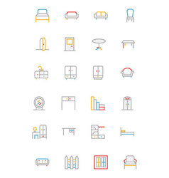 Furniture Colored Outline Icons 1 vector