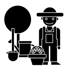 gardener - tree - shovel - watering can - bush vector image