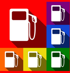 Gas pump sign set of icons with flat vector