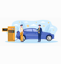 gas station worker help to refuel car vector image