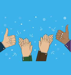 Hands clapping and thumb up gesture - bravo vector