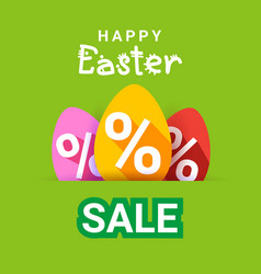 happy easter sale poster holiday special offer vector image