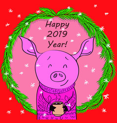Happy new year card cartoon pig with cocoa in vector