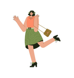 happy woman standing on one leg and gesturing vector image