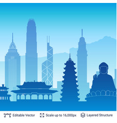 hong kong famous city scape vector image