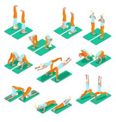 Isometric woman yoga exercices set vector