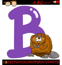 letter b for beaver cartoon vector image