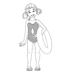 Little girl with a swimming circle outline vector
